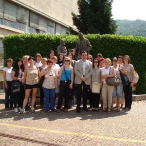 Společné foto před pány zakladateli Marzotto group.